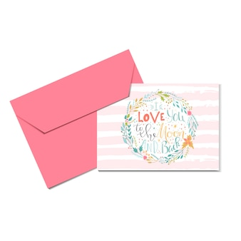 Lovely valentines day gift card with wreath heart and lettering love you to the moon. calligraphy, hand drawn design elements for print, poster, invitation, party decoration. vector.
