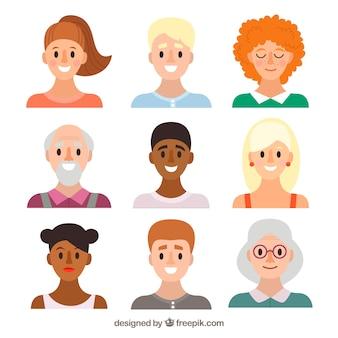 Ampia varietà di avatars piatti
