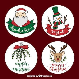 손으로 그린 크리스마스 라벨의 사랑스러운 다양 한