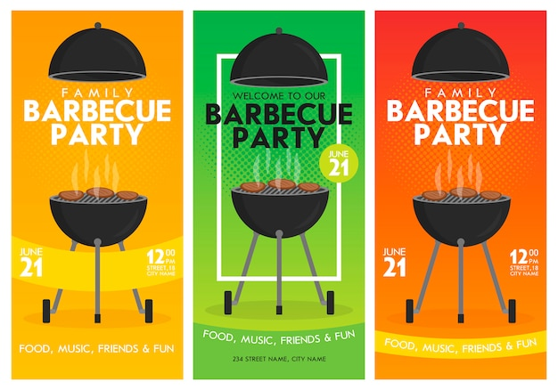 Lovely vector barbecue party invitation template set.