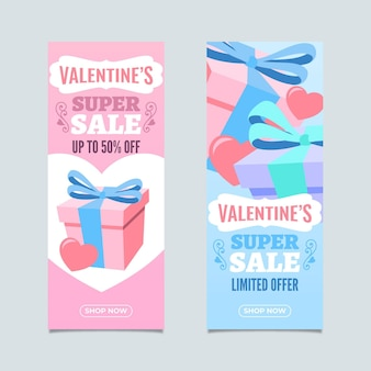 Lovely vertical valentine's day sale banners