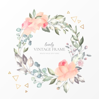 Lovely vintage frame with watercolor nature