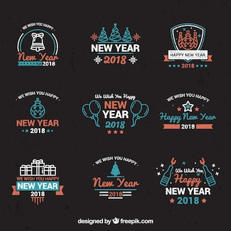 lovely vintage new year 2018 badge collection