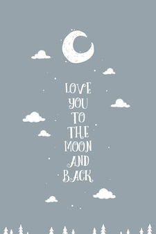 Lovely wall art poster 'Love you to the moon and back'