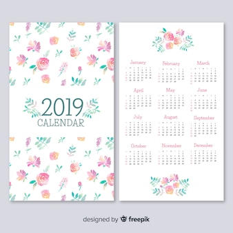 Lovely watercolor 2019 calendar template