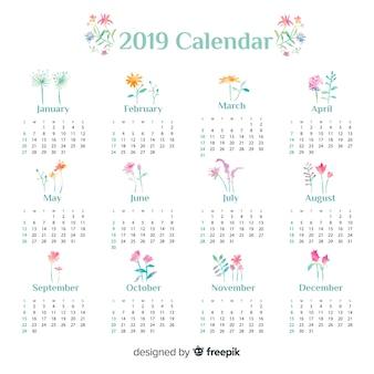 Lovely watercolor 2019 calendar template