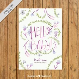 사랑스러운 수채화 아기 도착 카드