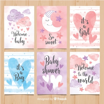 Lovely watercolor baby shower card collection