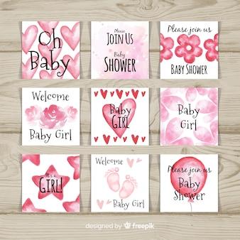 Bella collezione di acquerelli baby shower