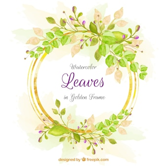 Lovely watercolor background with frame of leaves