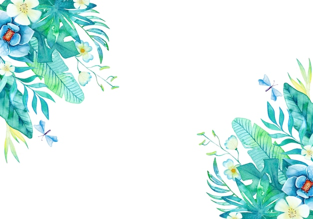 Lovely watercolor background with hand painted leaves