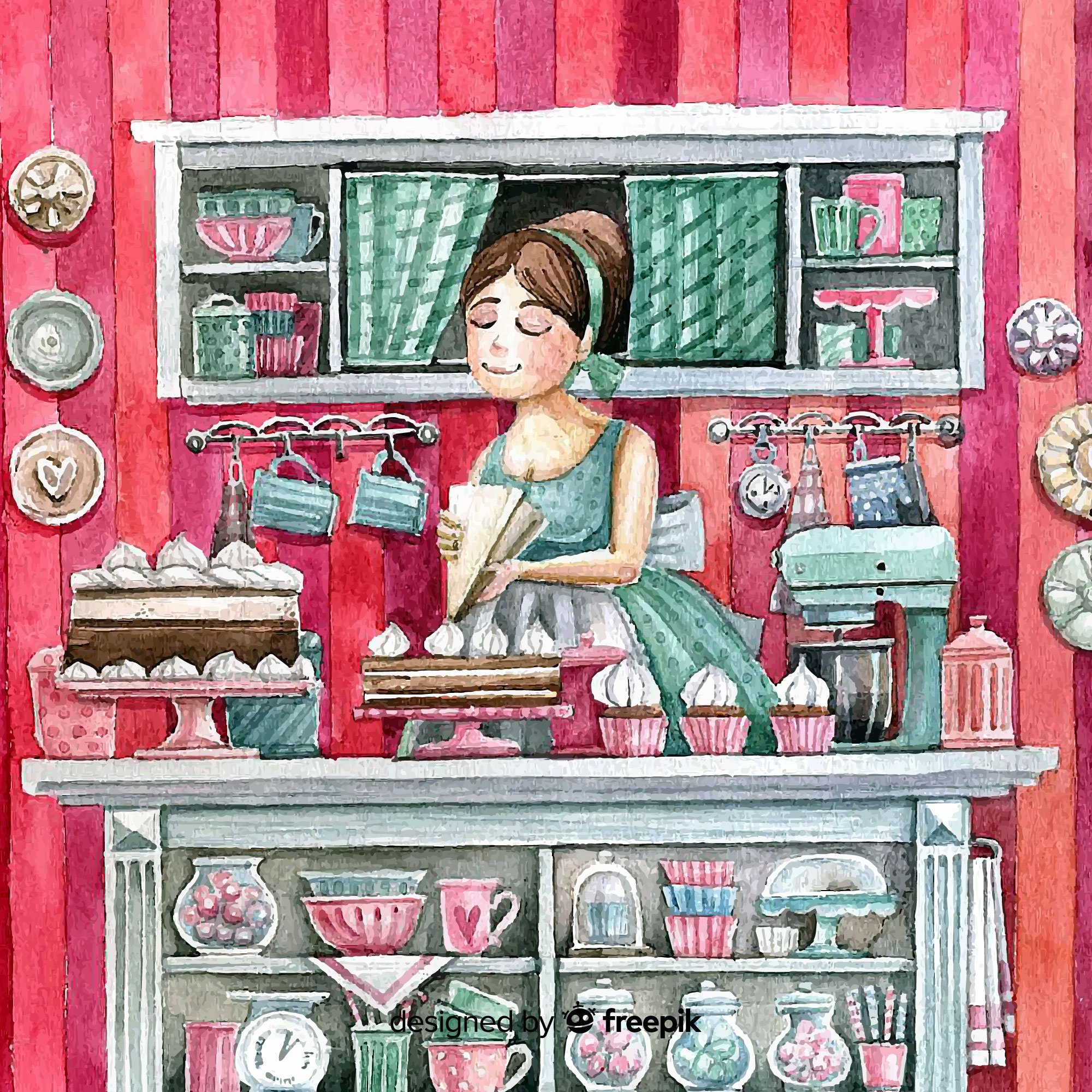 Lovely watercolor bakery interior