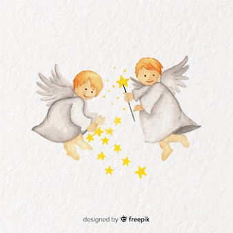 Lovely watercolor christmas angel couple background