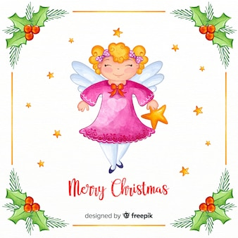Lovely watercolor christmas angel