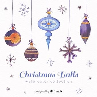 素敵な水彩のクリスマスのボールのコレクション