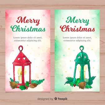 Lovely watercolor christmas banners