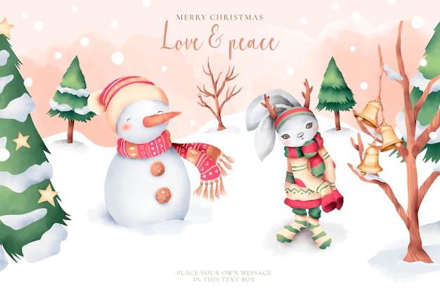 Lovely watercolor christmas card with cute characters