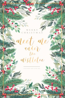 Lovely watercolor christmas card with quote