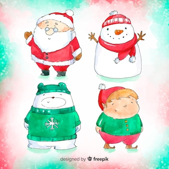 Lovely watercolor christmas character collection