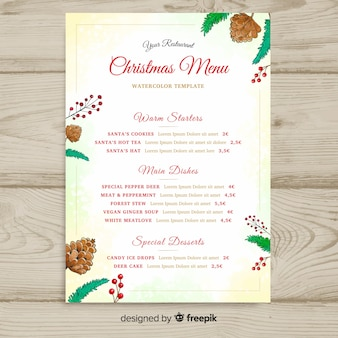 Lovely watercolor christmas menu template