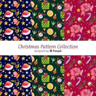 Lovely watercolor christmas pattern collection