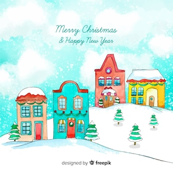 Lovely watercolor christmas town