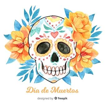 Lovely watercolor día de muertos background