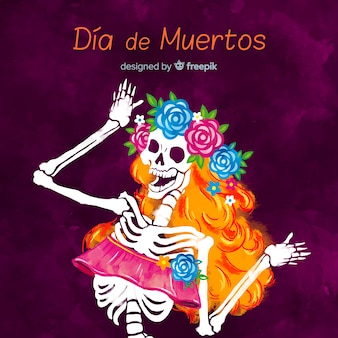 Lovely watercolor día de muertos background