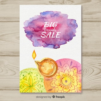 Lovely watercolor diwali sale flyer template