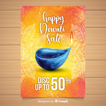 Lovely watercolor diwali sale flyer
