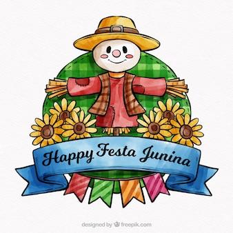 Lovely watercolor festa junina compostion
