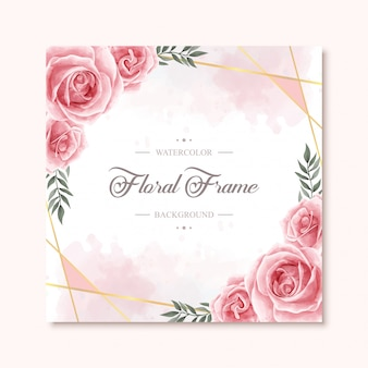 Lovely watercolor floral flower frame background