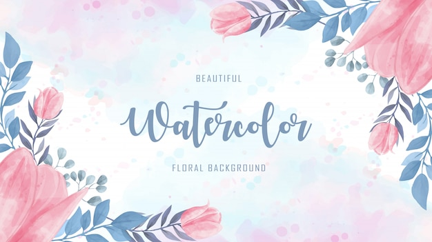 Lovely watercolor floral flowers blue pink background