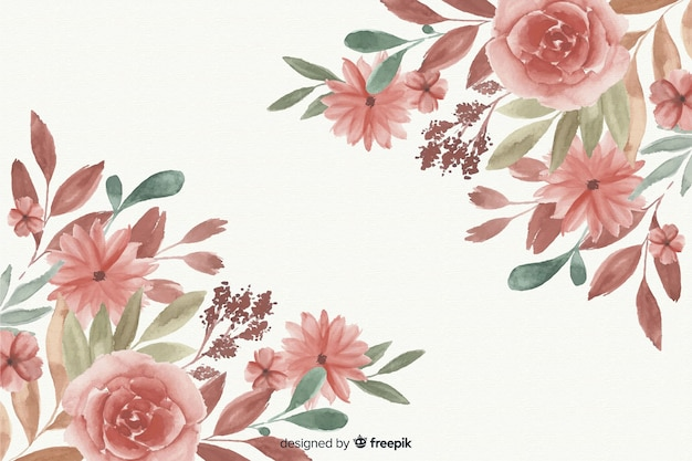 Lovely watercolor floral frame background