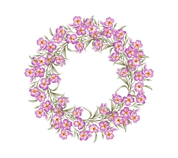 バレンタインデーカードのための素敵な水彩画の花のフレーム