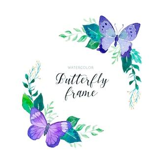 蝶と素敵な水彩画の花のフレーム
