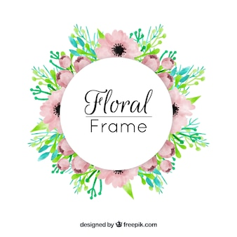 Lovely watercolor floral frame