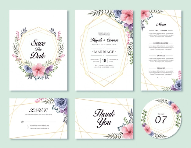 Lovely watercolor floral wedding invitation card template set with rsvp and thank you card
