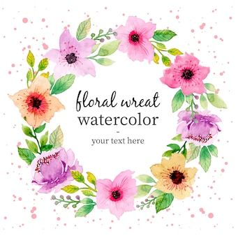 Lovely watercolor floral wreath template