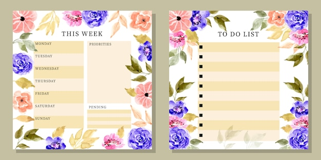 Lovely watercolor flower daily and to do list planner