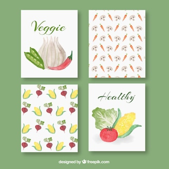 Lovely watercolor food card collection