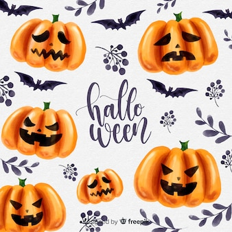 Lovely watercolor halloween background