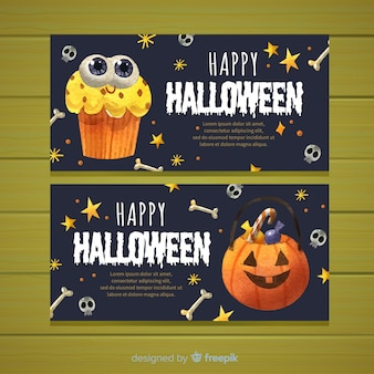 Lovely watercolor halloween banners