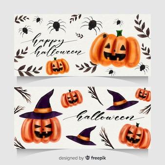 Милые акварельные баннеры хэллоуина