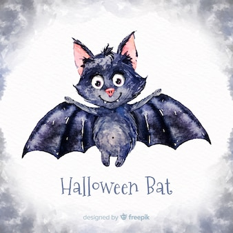 Lovely watercolor halloween bat