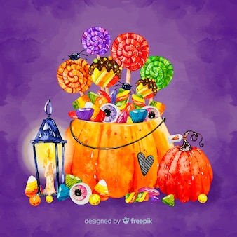 Lovely watercolor halloween candy bag