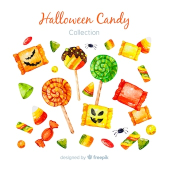 Lovely watercolor halloween candy collection