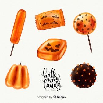 Прекрасная акварельная коллекция конфет хэллоуина