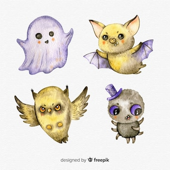 Lovely watercolor halloween character collection