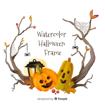 Lovely watercolor halloween frame
